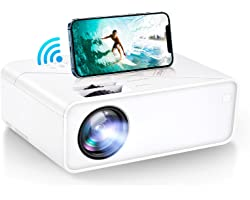 """VIMGO Mini WiFi Projector, 7800Lux Portable Projector Full HD 1080P Supported for Outdoor Movies, 200"""" Display Synchronized S"""