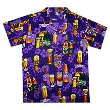 Funky Hawaiian Shirt Men Short Sleeve Front-Pocket Beer Party Purple