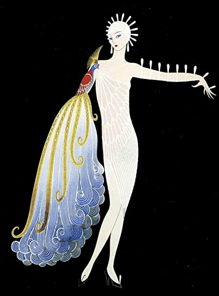 amazon com woman with peacock erte art deco fine art giclee