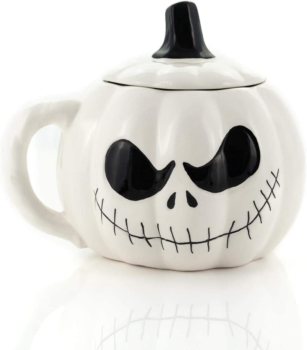 Nightmare Before Christmas Jack Skellington Pumpkin-Shaped Sculpted 24 Oz Ceramic Mug With Lid - Fun Novelty Gift Idea Inspired by Tim Burton's Creepy Stop-Motion Animated Musical Fantasy Film
