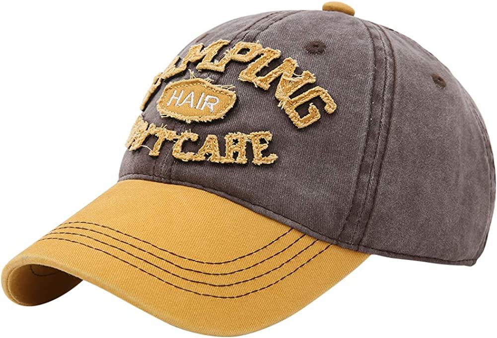 Doannotium Distressed Baseball Cap Washed Cotton Vintage Dad Hat Women Men Camping Hair Don't Care Trucker Hat