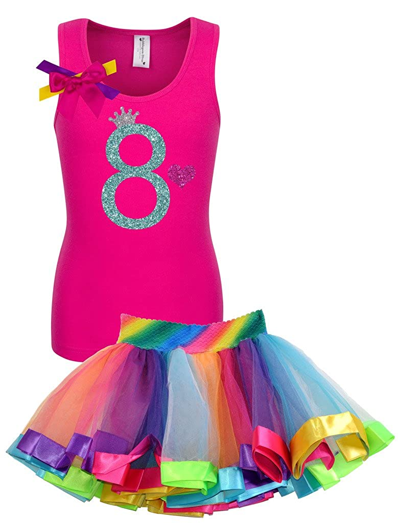 Bubblegum Divas Big Girls 8th Birthday Shirt Rainbow Tutu Outfit
