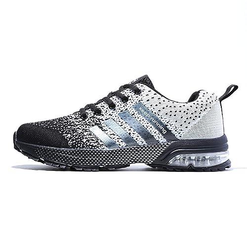e0754d6b32141 Fexkean Chaussures de Sport Running Baskets Mode Entraînement Respirant Chaussures  Homme Femme Noir Bleu Gris(