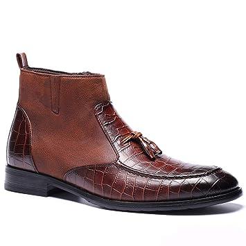 Souy Hombres Botas Altas Martin Boots Cremallera Lateral Casual Punta Redonda Botines para Caballero Calzado Oficial Chelsea Botas De Gran Tamaño 39-47: ...