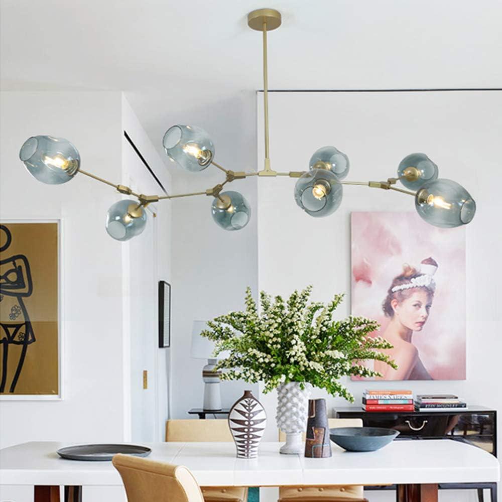 Modern Molecular Chandelier, 8 Light Adjustable Downrod Modern Glass Shade Magic Bean Chandelier for Kitchen Dining Room Living Room, Creative Chandelier Light Fixture E26 Socket: Home Improvement