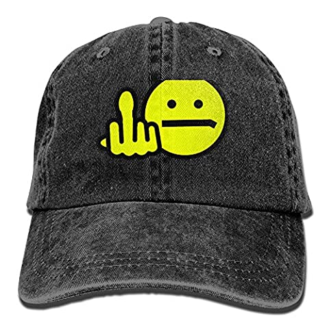 Dacop Angry Smiley Outdoor Washed Cotton Adjustable Hat Baseball Cap Black - Smiley Black Cap