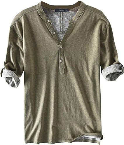 Korean Style Tops Men Boys V Neck Button Short Sleeves Casual T-shirt Blouse Tee