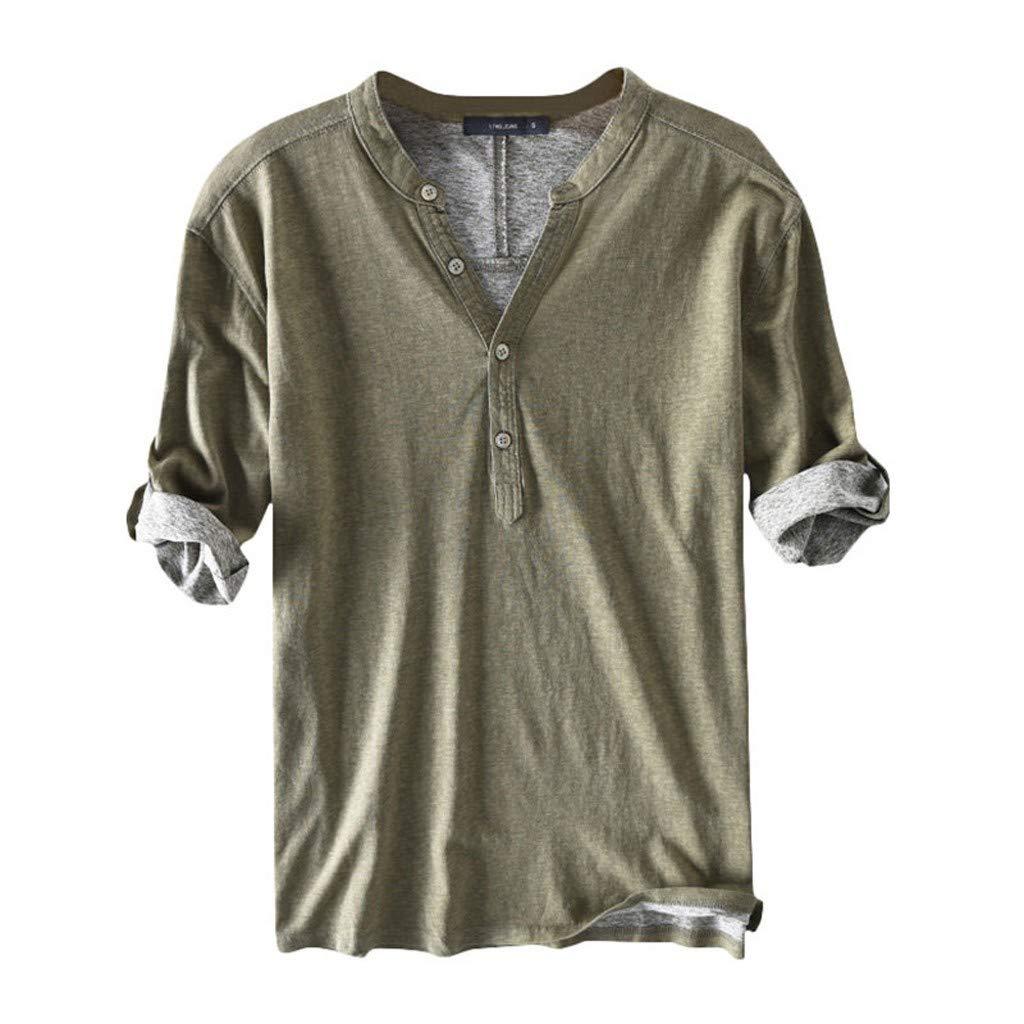 WDTSA Mens Half Sleeve Cotton T-Shirt Button Collar Tops Loose Breathable Blouse