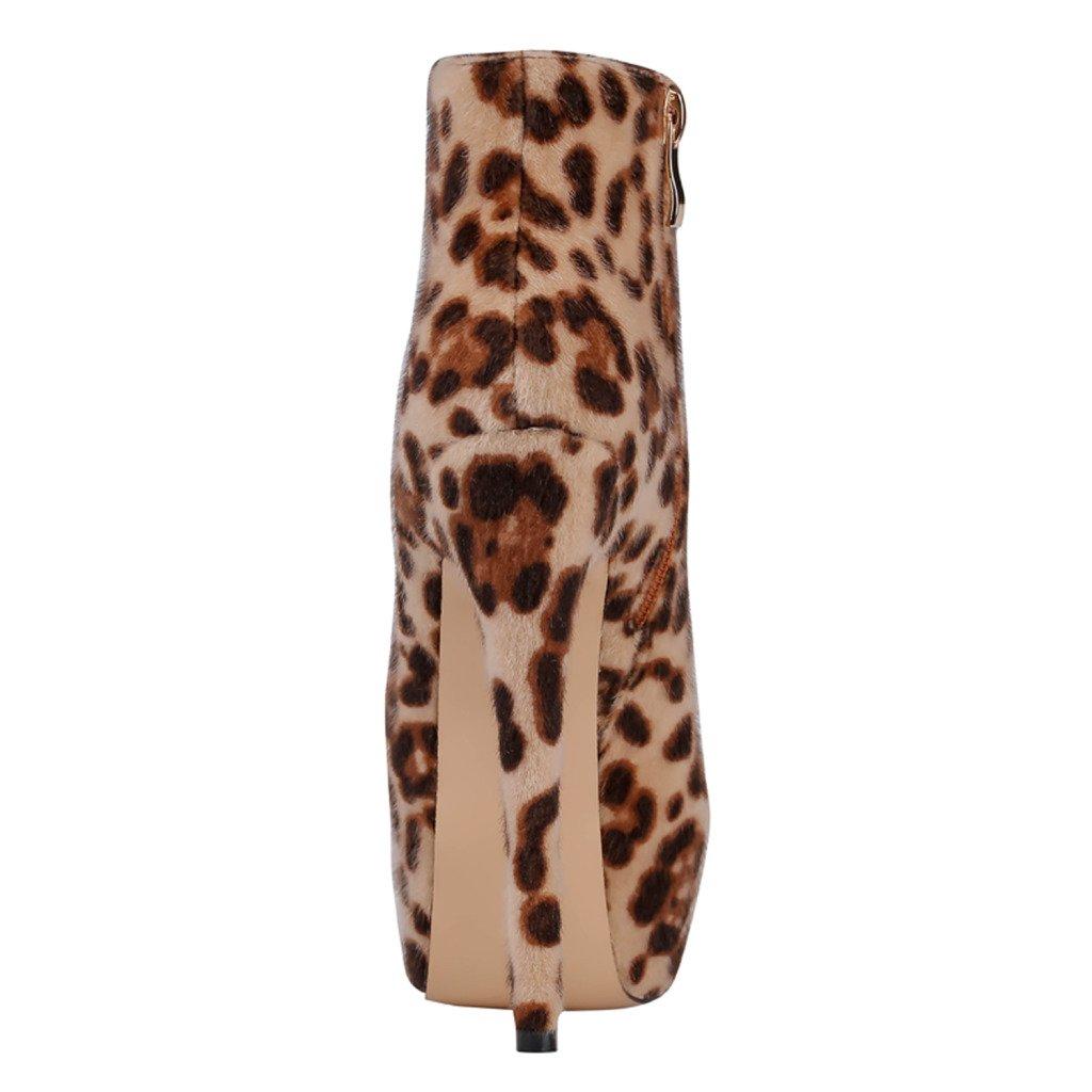 EKS Frauen Nieten Frühling Winter Stiefeletten Reißverschluss Nieten Frauen Dekoration Extreme High Heel Stiefel Leopard-Wildleder d56132