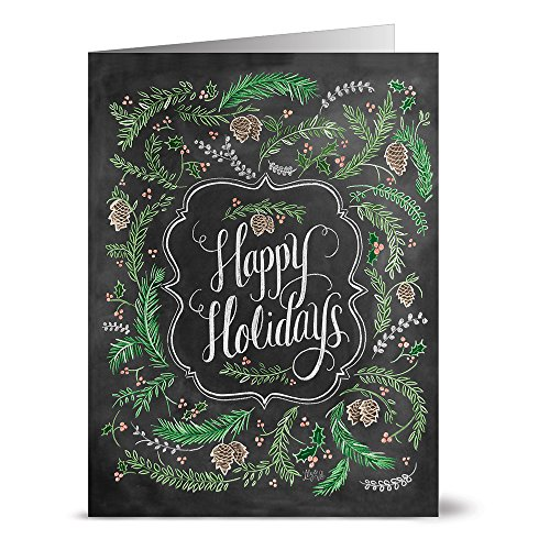 (Noble Fir Happy Holiday - 36 Note Cards - Blank Cards - Kraft Envelopes Included)