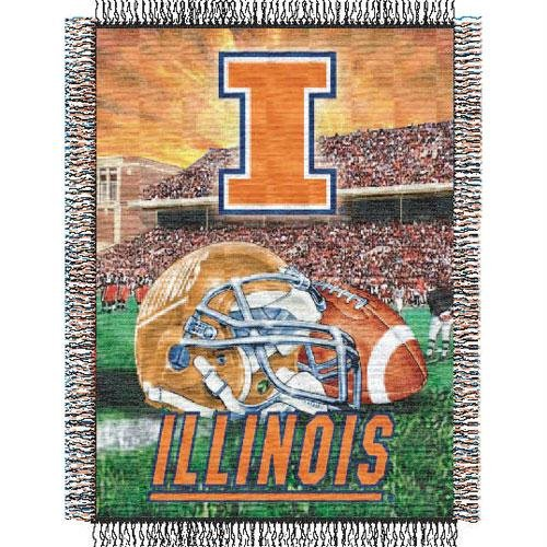 Acrylic Fighting Illini Football (Officially Licensed NCAA Illinois Illini Home Field Advantage Woven Tapestry Throw Blanket, 48