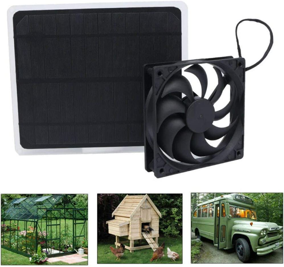 Tree House and Rv Etc. Pet House Solar Panels Portable Solar Fan Mini Ventilator Keeps Air Clean,10W 12V Solar Exhaust Fan for Greenhouse Black