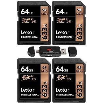 Lexar 64GB Professional 633x LXLSD64GCB1NL633 SDXC Class 10 ...