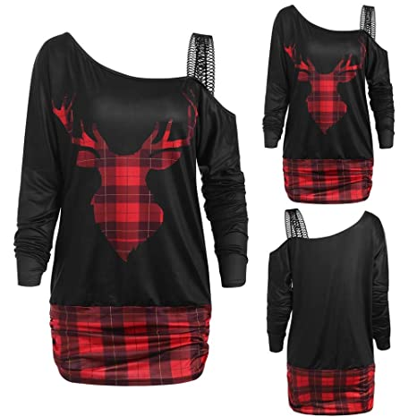 ❤ Blusa de Navidad para Mujer, Invierno escocés con Hombros Descubiertos Camiseta de Manga Larga con Estampado de Alce a Cuadros de Navidad para Mujer ...