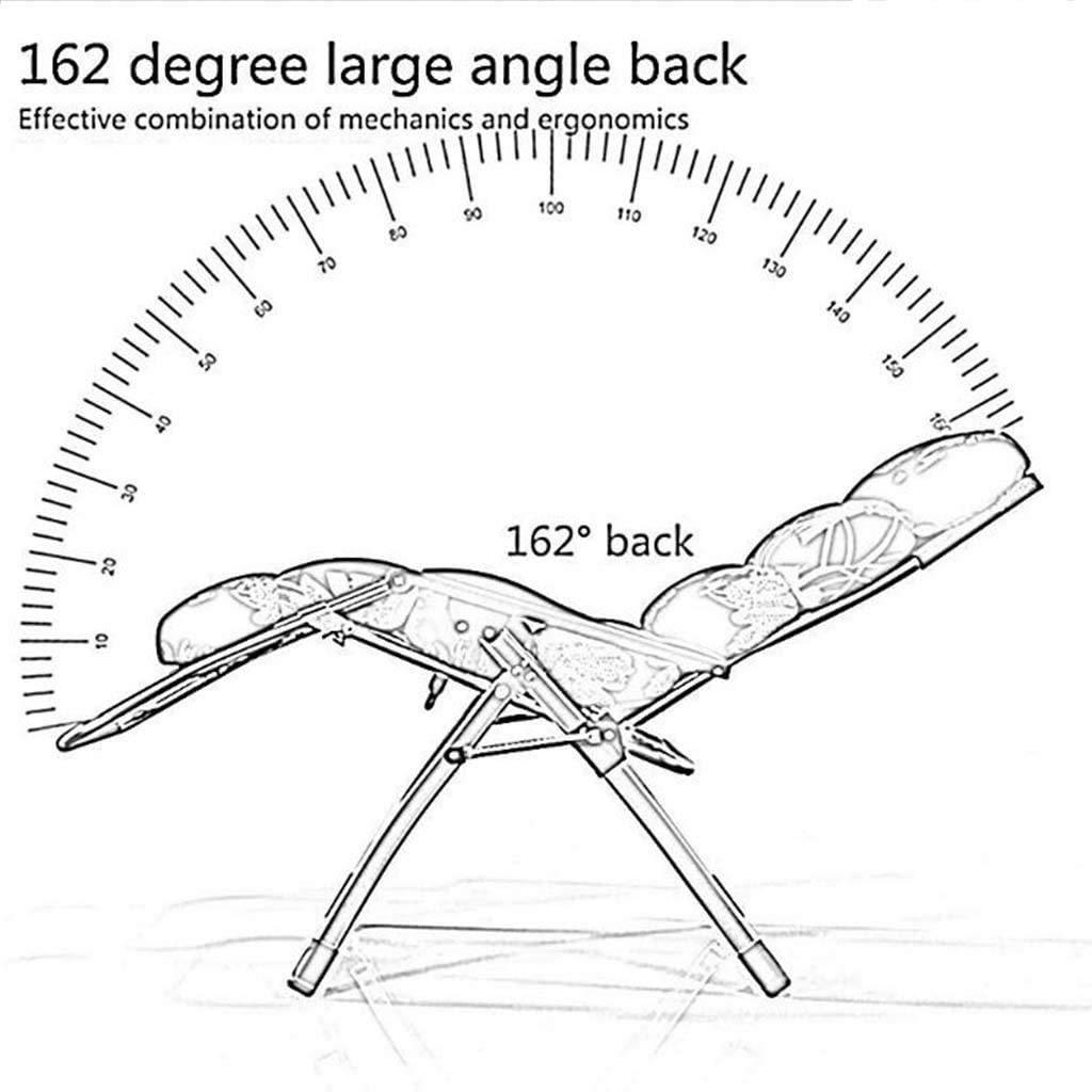 RECLINING SUN LOUNGER Däckstol, fällbar lunchpaus, tupplursstol, kontor lat stol, hem utomhus trädgård strand lounge-stol, avtagbar bomullsdyna xiuyun (färg: grå) Svart