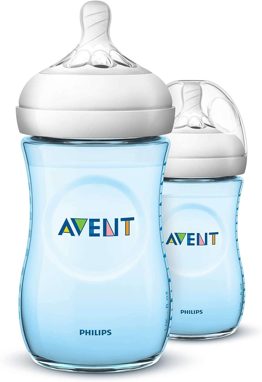 زجاجة رضاعة افينت ناتشورال من فيليبس، قطعتين لون ازرق، سعة 260 مل