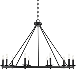 "Savoy House 1-310-10-89 Middleton 10-Light Matte Black Modern Farmhouse Industrial Circular Ring Shaped Chandelier (45"" W x 32""H)"