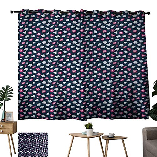 Warm Family lace Curtains Diamonds,Round Marquise Square and Heart Shape Arrangement on Dark Color,Dark Blue Pink Baby Blue 72