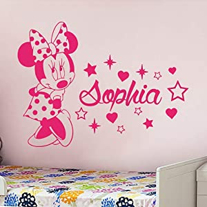 Name Wall Decal Minnie Mouse Vinyl Decals Sticker Custom Decals Personalized Baby Girl Name Decor Bedroom Nursery Baby Room Decor ZX58