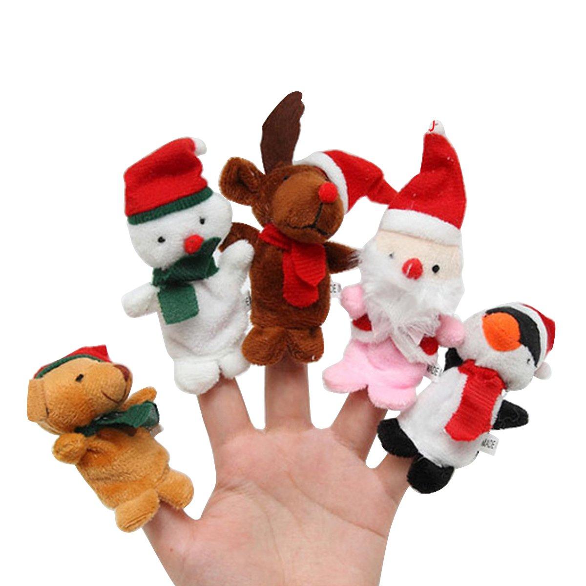 BESTOYARD 5 Stü cke Weihnachten Fingerpuppen Plü sch Tier Figur Kleine Handpuppe Set Puppen Spielzeug Geschenk fü r Baby Kleinkinder