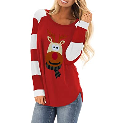 Actloe Women Casual Color Block Long Sleeve Pullover Tunic Top Loose Shirt: Clothing