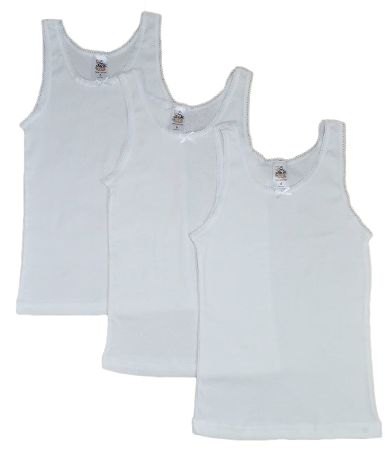 Jack & Jill Underwear Girls Top Camisole-3 Pack-White (White)