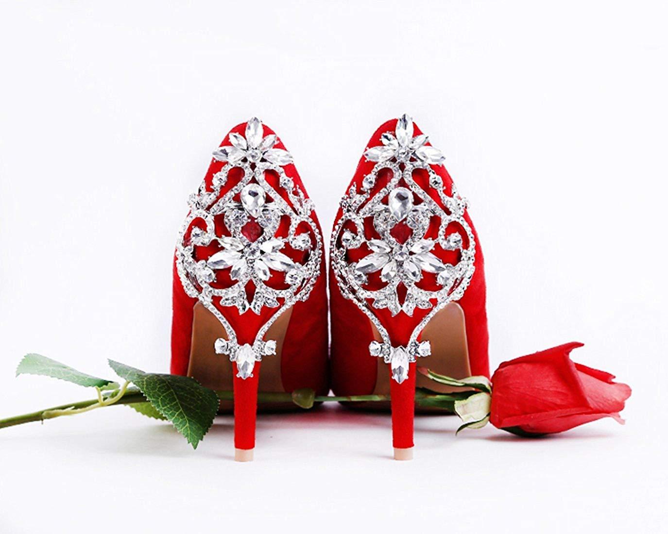 ZHRUI Frauen Retro Slip-on Applique rot Wildleder Wildleder Wildleder Brautkleid Schuhe UK 2.5 (Farbe   -, Größe   -) 4dec70