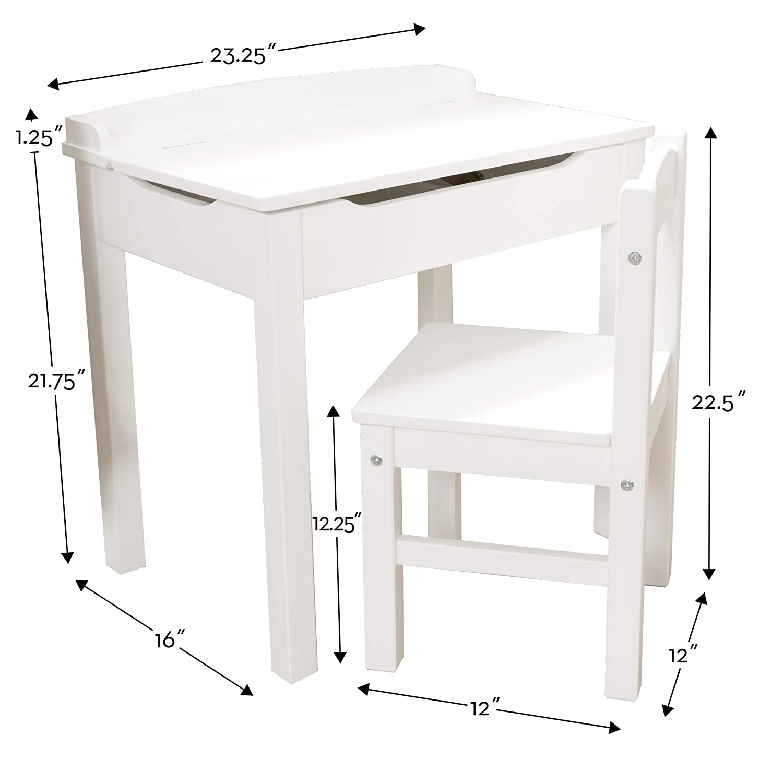 Sturdy Wooden Chair /& Desk Set, Safety-Hinged Lid, White, 40.89 cm H x 59.94 cm W x 58.93 cm L Melissa /& Doug Child/'s Lift-Top Desk /& Chair