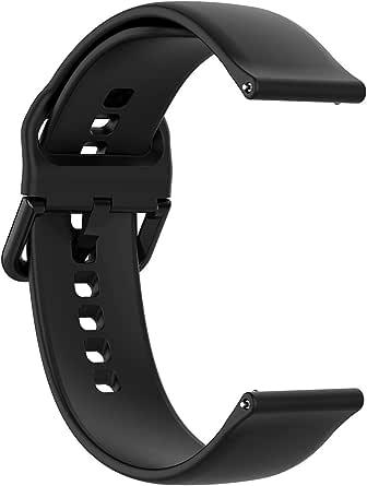 سوار ساعة بديل من السيليكون لساعة سامسونج جالاكسي أكتيف SM-R500 من Oyeoye سوداء صغيرة الحجم