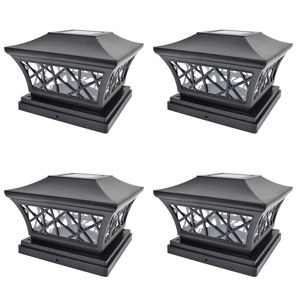 iGlow 4 Pack Black 6 x 6 Solar Post Light SMD LED Deck Cap Square Fence Outdoor Garden Landscape PVC Vinyl Wood