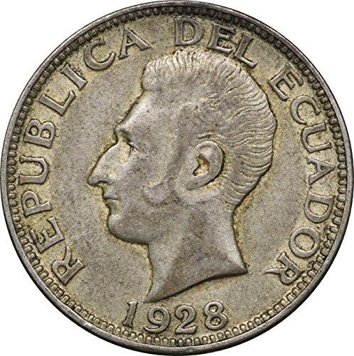 Type Scarce (1928 EC Ecuador Silver Dos 2 Sures, KM# 73, Scarce 2 Year Type, XF 2S Extremely Fine)