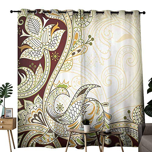 (duommhome Ethnic Bathroom Curtain Oriental Floral Leaf Pattern with Middle Eastern Effects Design Block Most Light and Ultraviolet Light W72 xL72 Cream Chestnut Brown Lime Green)