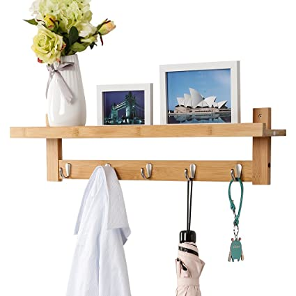 LANGRIA Coat Hook Shelf Wall Mounted Coat Hooks Bamboo Wooden Coat Rack  With 5 Metal
