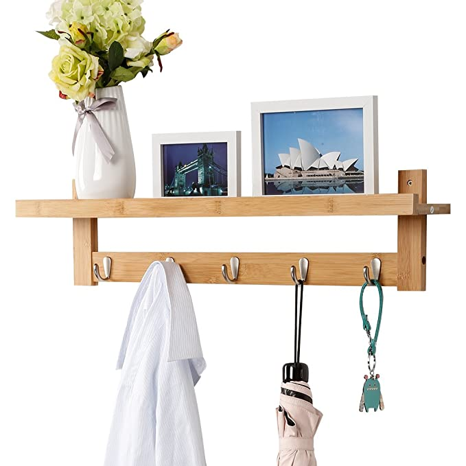 LANGRIA Perchero de Pared de Bambú con 5 Ganchos Metálicos y Estantería Superior con Espacio Adicional Estilo Escandinavo para Salón Baño Pasillo ...