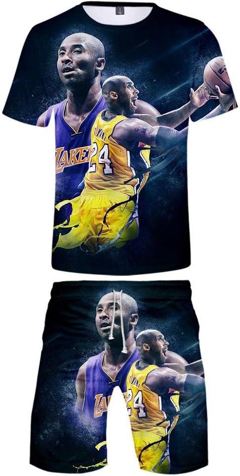 LVTIAN Kobe 3D imprim/é /ét/é de Basket-Ball Classique /à Manches Courtes T-Shirt Tops et Costume Short Casual