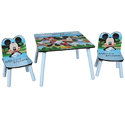 Peachy Disney Mickey Mouse Wooden Childrens Table Two Chairs Set Evergreenethics Interior Chair Design Evergreenethicsorg