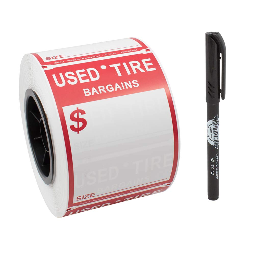 500 Pc Roll Adhesive Used Tire Tag Weather Resistant Polysteel Sticker Label 4'' x 5 1/2'' Red & White w/Marker for Auto Tire Repair Retail Shop by Brock
