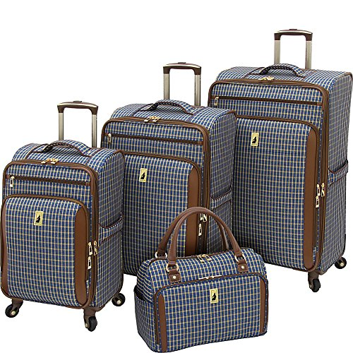 Luggage Sets Plaid (London Fog Kensington 4 Piece Set, Blue Tan Plaid)