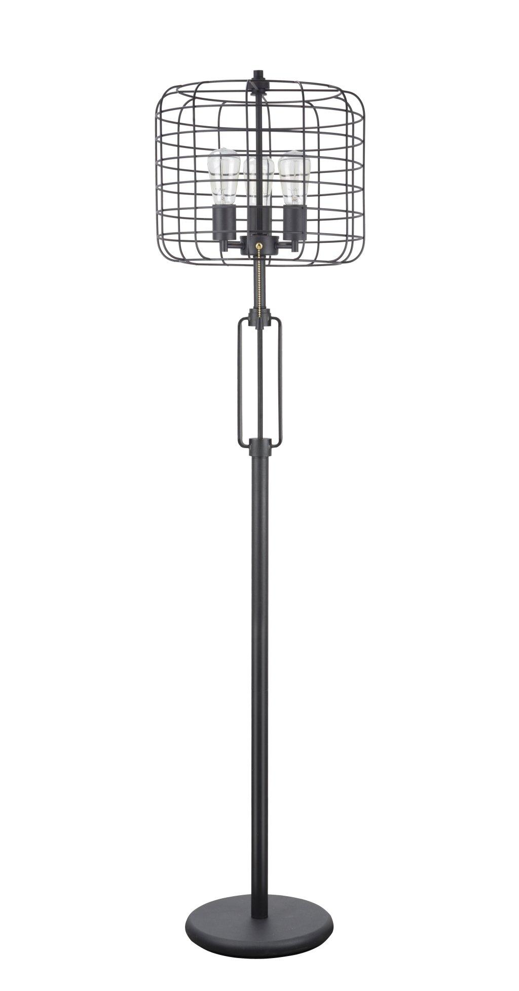 Aspen Creative 45008 63'' High Wire Cage Metal Floor Lamp, Vintage Design, Sand Black