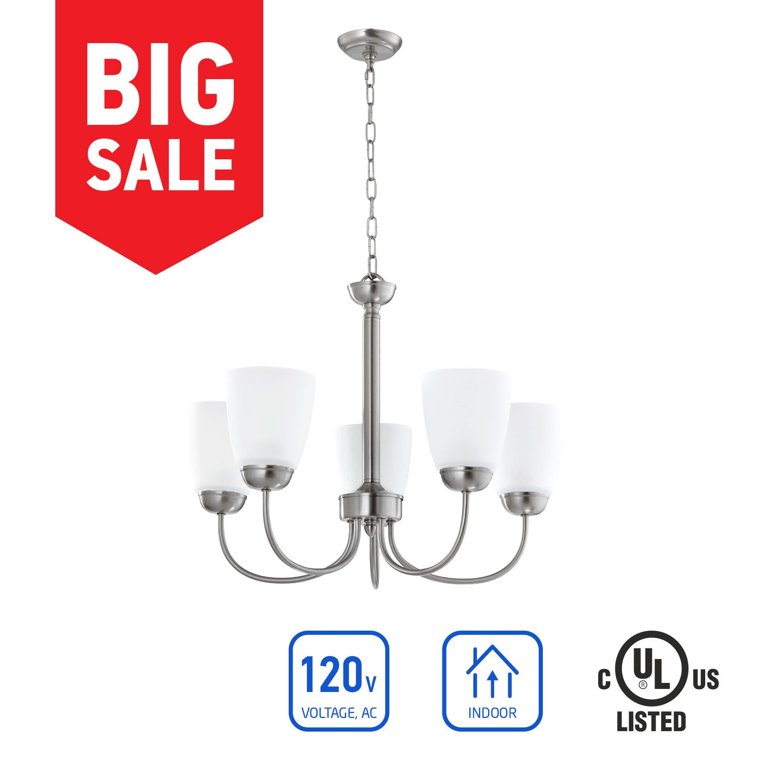in Home 5-Light Chandelier CH39, Brushed Nickel Finish with Satin Etched Glass Shade, UL Listed