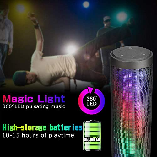 Upgraded Portable Bluetooth Light Speakers – LUOOV Hi-Fi Portable Wireless Bluetooth Light up Speakers with 6 Pulse Colorful LED Light Modes Built-in Mic Handsfree Function Black