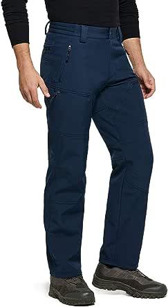 TSLA Men's Winter Waterproof Softshell Hiking Pants, Outdoor Snow Ski Fishing Fleece Lined Insulated Pants