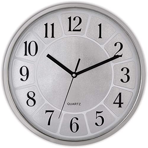 Decorative Silent Wall Clock Non Ticking Battery Operated Quartz Modern Wall Clocks 12 Inches Round