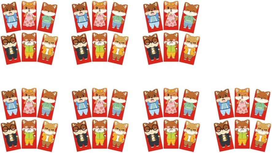 Sayala 18Pezzi Buste Rosse Cinesi Anno del 2020 Buste Fortunate Cinesi Anno Ratto Hongbao con Modello di Ratto per Primavera Festival Lunare Capodanno Matrimonio 18Disegni 3.5 x 6.5 Pollici