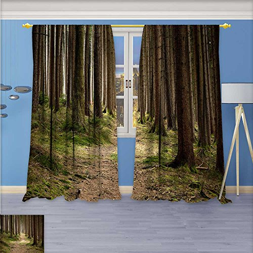 96w Straight Pin - aolankaili Blackout Curtains Thickening Polyester,A Straight Tree Thermal Insulated Grommet for Living Room, 96W x 96L Inch