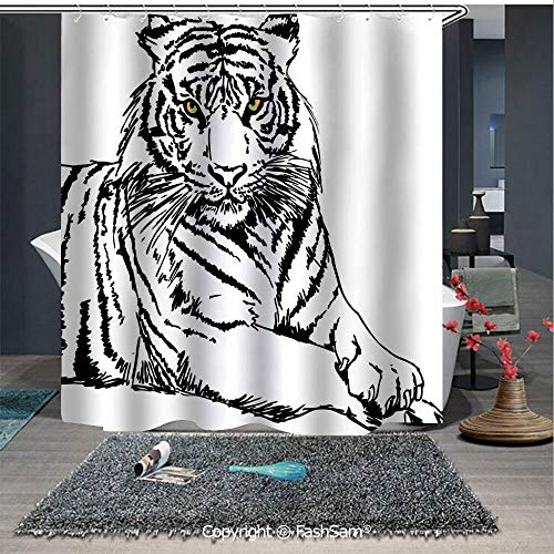 (FashSam Bathroom Curtain Sketch of A Posing Tiger Sharp Eyes Largest Cat Species Dark Vertical Stripes Art Print Bath Drapes(65