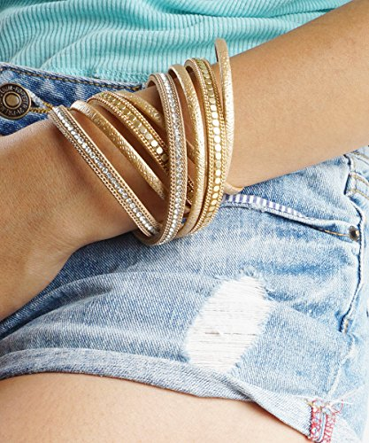 Black Wrap Cuff, Gold Vegan Leather MultiStrand Chain and Sequins Magnetic Clasp Bracelet, Navy Blue Arm Stacks