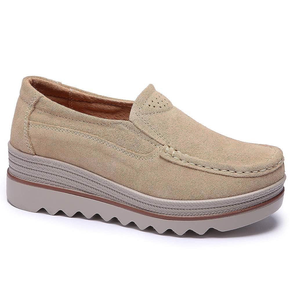 a97daf89a441f STQ Women Slip On Tassel Platform Loafers Suede Moccasin Comfortable Wedge  Work Shoes