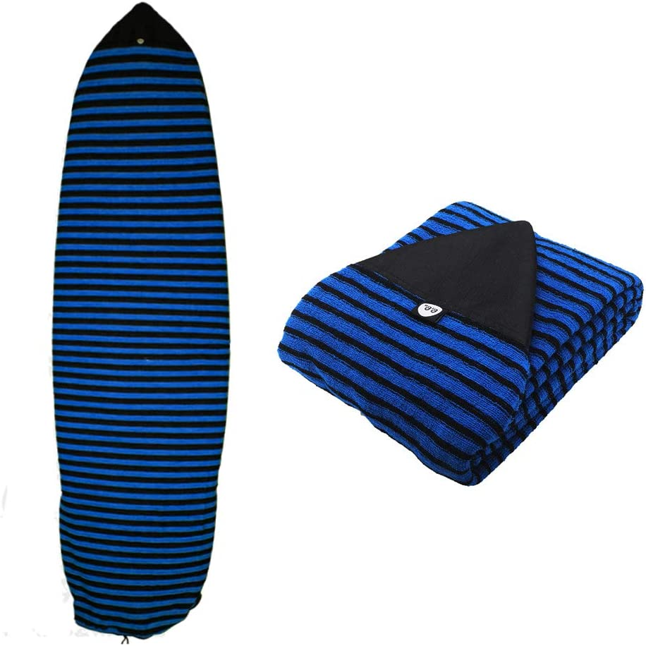 5.0-10.6ft Surfboard Sock Cover Lightweight Stretch Surf Surfing Board Protective Bags with Drawstring Closure /& Padded Pointed Nose Protector /& Pouch