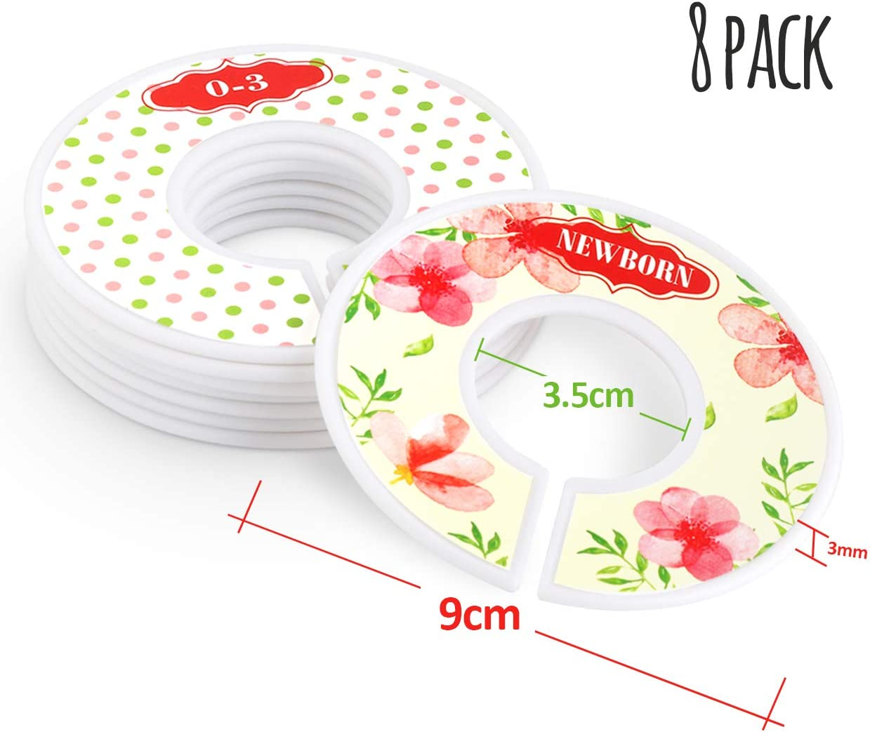 Baby Closet Organizer Dividers Age Hanger Dividers for Baby with Flower Design Size from Newborn to Toddler 8 Pack Unisex Closet Size Dividers for Baby Hangers